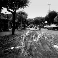 폭우가 지나간 뒤의 도로